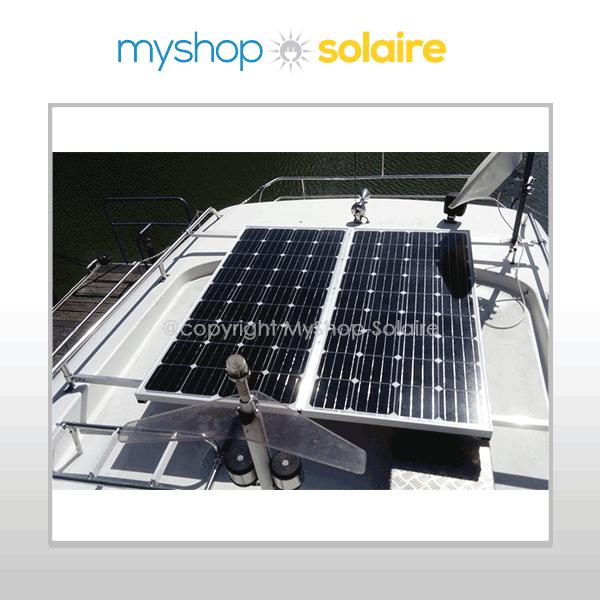 Photo panneau solaire rigide sur bateau