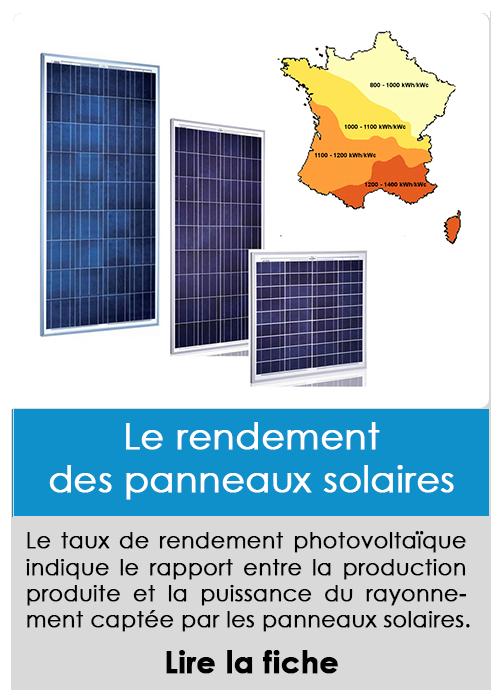 Le rendement des panneaux solaires photovoltaïques