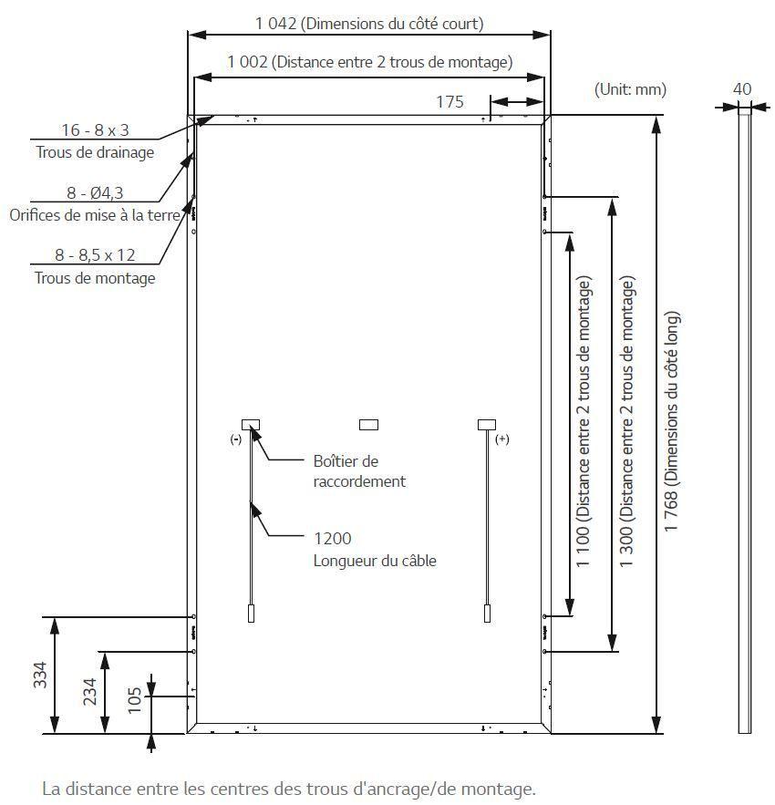 Dimension panneau solaire 385W LG