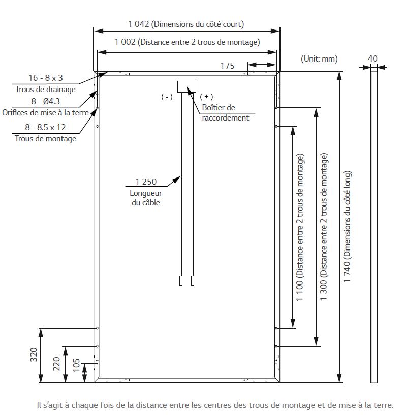 Dimension panneau solaire 365W LG