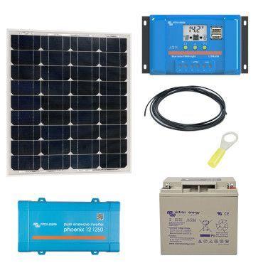 Kit solaire 55W Autonome Mono + Convertisseur 230V / Kit solaire autonome